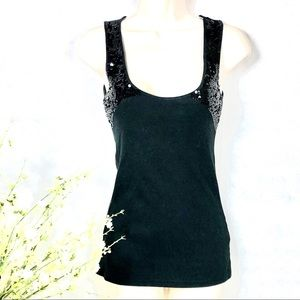 American Rag Cie Black Sequined Tank Top, Small